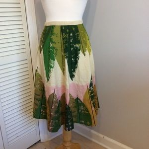 Snak Leaf Print Knee Length Circle Skirt Size 12